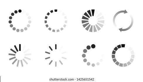 Super set different load icon. Circle website buffer loader or preloader. Download or upload status icon.