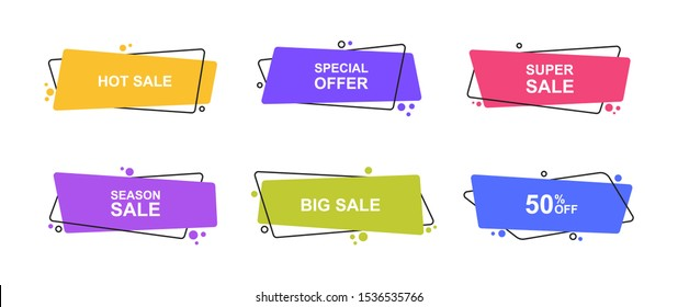 Super set different shape geometric flat banners. Modern abstract shapes for sale promotion. Modern flat style vector illustration.