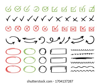 Super set hand drawn check mark with different circle arrows and underlines. Doodle v checklist marks icon set. Vector illustration.