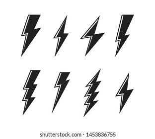 Super set Lightning bolt. Thunderbolt, lightning strike. Modern flat style vector illustration.