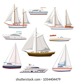 Super set of water carriage and maritime transport in modern cartoon design style. Ship, boat, vessel, warship, cargo ship, cruise ship, yacht, wherry, hovercraft. Isolated