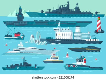 Super set of water carriage and maritime transport in modern flat design style. Ship, boat, vessel, nave, bark, warship, battleship, yacht, wherry, hovercraft. Isolated on blue background
