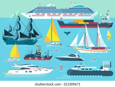 Super set of water carriage and maritime transport in modern flat design style. Ship, boat, vessel, warship, cargo ship, cruise ship, yacht, wherry, hovercraft. Isolated on blue background
