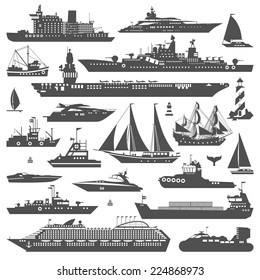 Super set of water carriage and maritime transport in modern flat design style. Ship, boat, vessel, warship, cargo ship, cruise ship, yacht, wherry, hovercraft. Logo icons isolated on white background