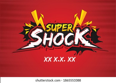 Super Shock Discount Pomotion Banner Template Red background
