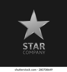 Super silver star vector logo icon for your company