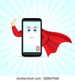 Super smart phone hero. Smart phone character.