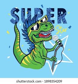 Super star dinosaur character design.Dinosaur, microphone vector print.Fun t-shirt design for kids.Vector illustration design for fashion fabrics, textile graphics, print.