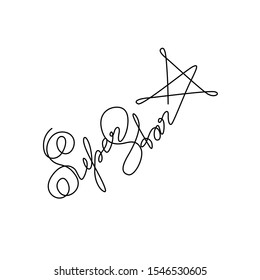 Super Star logo, inscription, continuous line drawing, hand lettering small tattoo, print for clothes, t-shirt, emblem or logo design, one single line on a white background, isolated vector.