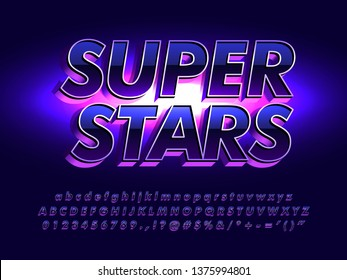 super stars futuristic and elegant font, shine dark metallic and glossy font effect, modern and luxury poster alphabet element design