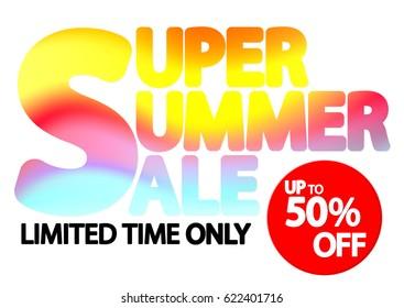 Super Summer Sale, up to 50 percent off, poster design template, vector illustration