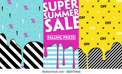 Super Summer Sale Modern banner template for social media and mobile apps. 80, 90 style. Fashionable Memphis style Creative sale graphic. Summer background for sale poster. Easy editable for design.