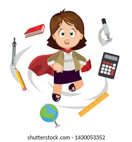 Super teacher female concept. Professional specialist who everything, everywhere and always doing in time. Woman coach in red cape in among school suppliers. Cartoon vector clip art isolated on white.