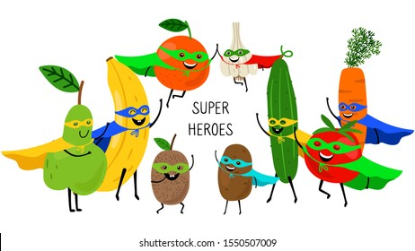 Super vegetables fruits. Superheroes with smiles and masks, carrot tomato banana orange pear isolated on white background. Vector fruits and vegetables, organic products