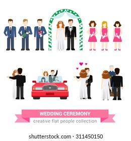 Super wedding ceremony marriage flat style infographic icon people set. Newlyweds wife husband bride groom dance best man groomsman bridesman usher honeymoon. Creative conceptual collection