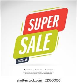 Super Weekend Sale banner. Big sale special offer Vector illustration.