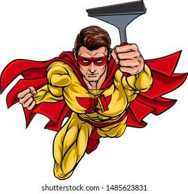 A super window cleaner hero or car wash man superhero holding squeegee