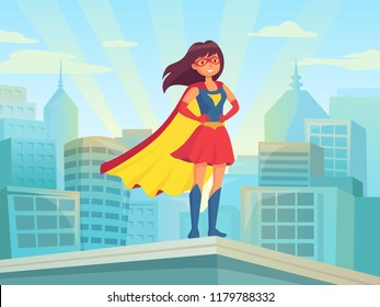Super woman watching city. Wonder hero girl in suit with cloak cape at town roof. Comic justice book female superhero fitness strength brave silhouette on cityscape cartoon poster vector illustration