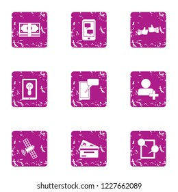 Superb icons set. Grunge set of 9 superb vector icons for web isolated on white background