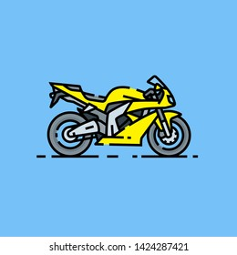 Superbike line icon. Yellow sports motorcycle isolated on blue background. Fast motorbike symbol. Vector illustration.