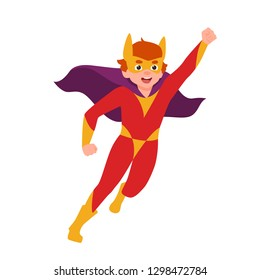 Superboy, superchild or secret super agent standing in powerful posture. Boy wearing mask, bodysuit and cape. Brave and strong hero kid or child. Colorful vector illustration in flat cartoon style.