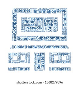 supercomputer word cloud. tag cloud about supercomputer