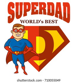 Superdad the best Superhero man Cartoon character Isolated Vector illustration