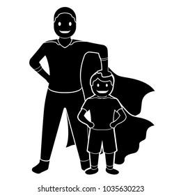 Superdad cartoon character silhouette