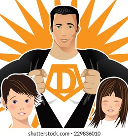 Superdad with two children closeup EPS 10 vector
