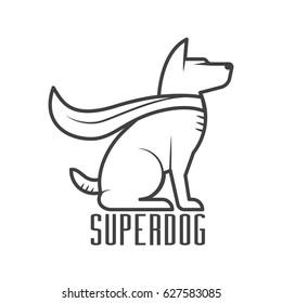 Superdog logo or label template. Super dog hero in heroic cape logotype in line design.