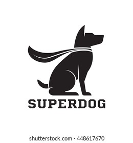 Superdog outline emblem. Super dog hero in heroic cape emblem. Haski in cloak. Super dog logotype.