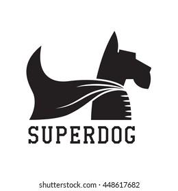 Superdog outline emblem. Super dog hero in heroic cape emblem. Scotch terrier in cloak. Super dog logo.
