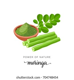 Superfood fruit. Moringa, twig with leaves, powder. Vector illustration cartoon flat icon isolated on white.