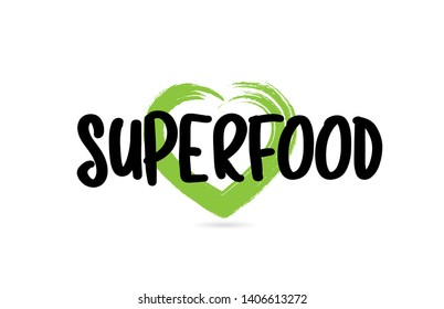 superfood text word with green love heart shape suitable for icon, badge or typography logo design