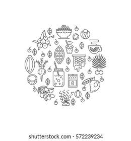 Superfood vector concept.  Acai, cocoa, goji, guarana, spirulina, coconut, quinoa, camu camu, maca, honey, vanilla, kelp. Organic superfoods for health and diet. Detox and weightloss supplements.