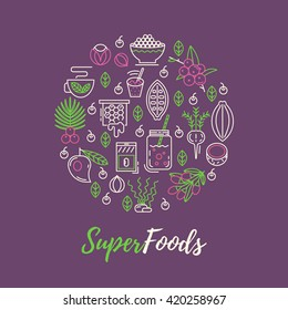Superfoods line vector concept. Acai, cocoa, goji, guarana, spirulina, coconut, quinoa, camu camu. Organic superfoods for health and diet. Detox and weightloss supplements.