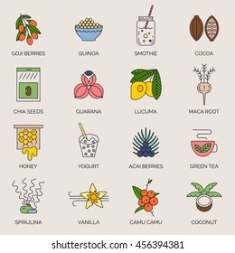 Superfoods line vector icons. Acai, cocoa, goji, guarana, spirulina, coconut, quinoa, camu camu, maca, honey, vanilla, kelp. Organic superfoods for health and diet. Detox and weightloss supplements.