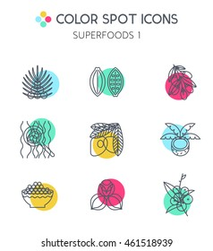 Superfoods line vector icons. Acai, cocoa, goji, guarana, spirulina, coconut, quinoa, camu camu. Organic superfoods for health and diet. Detox and weightloss supplements.