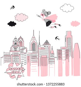Supergirl fly above cityscape. Girlish Pink Super Hero themed illustration. Vector doodle graphics. Perfect for little girl design like t-shirt textile fabric print birtday party art wall poster