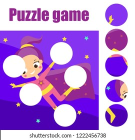 Supergirl fly puzzle for toddlers. Match pieces and complete the picture. Educational game for children. Beach sport theme