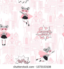 Supergirls cartoon characters in the city fly and stand on buildings. Girlish Superhero themed seamless pattern. Vector doodle graphics. Perfect for little girl design like t-shirt textile fabric