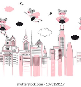 Supergirls cartoon characters in the city fly above and stand on buildings. Girlish Superhero themed seamless border pattern. Vector doodle graphics. Perfect for little girl design like t-shirt