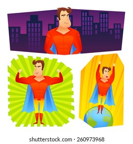 Superher fictional powerful cartoon character in red costume blue cape colorful banner set abstract isolated vector illustration