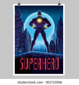 Superhero in action. Superhero in the night city. Poster layout