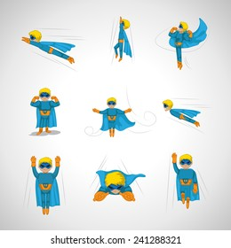 Superhero In Action Set - Isolated On Gray Background - Vector Illustration, Graphic Design, Editable For Your Design