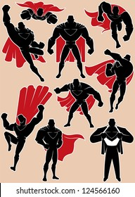 Superhero in Action: Superhero silhouette in 9 different poses. No transparency and gradients used.