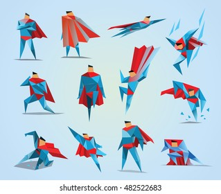 Superhero actions icon set in low poly style, different poses, vector polygonal illustration