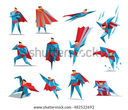 Superhero actions icon set in low poly style, different poses, vector polygonal illustration, white background