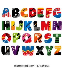 Superhero alphabet vector.