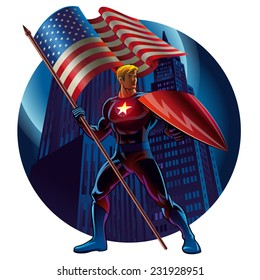 Superhero with the American flag. Vector illustration
